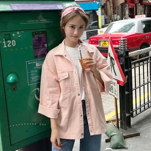 春秋女装学院风长袖宽松牛仔外套2018学生工装夹克潮