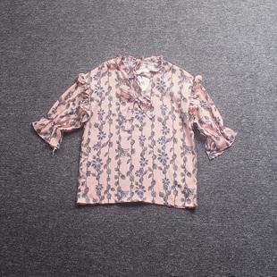 桔子家2018夏季系带套头上衣小清新碎花荷叶边百搭雪纺衫