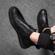冬季男鞋真皮鞋子男潮鞋潮流英伦柔软底防滑男士皮鞋加绒