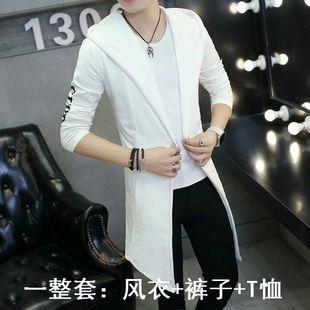 春秋男中长款风衣搭配牛仔裤男青少年潮流时尚一套装