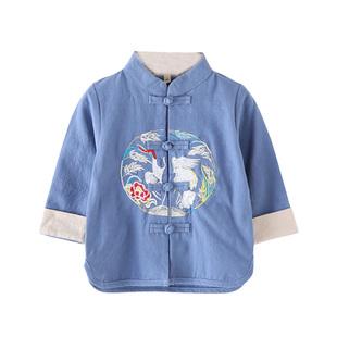 男童复古棉麻汉服儿童秋季民族风长袖上衣周岁女宝宝中国风唐装
