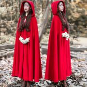 2018冬装加厚披风外套文艺大红色巫师帽大摆长款斗篷毛呢复古大衣