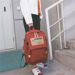 帆布双肩包大容量旅行电脑男士背包情侣英伦校园大学生书包女