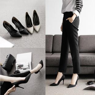 春秋季黑色法式高跟鞋女细跟2019尖头职业工作正装女士单鞋夏