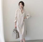 2018春装韩国超长过膝亚麻棉麻料中长款长袖条纹无领衬衫裙女