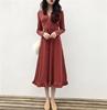 韩风Chic气质V领收腰系带显瘦连衣裙 纯色简约长袖木耳中长裙