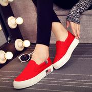 黑红白蓝春季一脚蹬懒人鞋厚底板鞋松糕平底时尚帆布鞋女鞋潮