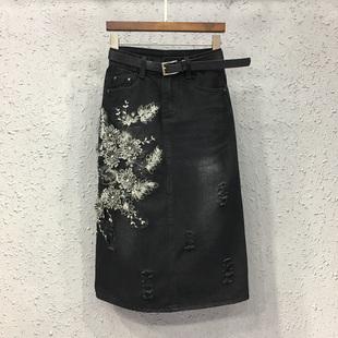 中长款牛仔半身裙女2018欧洲站时尚秋装刺绣花朵包臀A字裙潮
