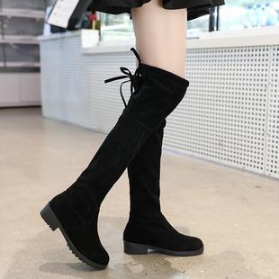 2018秋冬季女式长筒靴子欧美英伦时尚骑士靴圆头中跟方跟防滑女靴