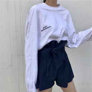欧货大版t恤秋冬原宿港风宽松百搭女上衣白色时尚长袖洋气打底衫