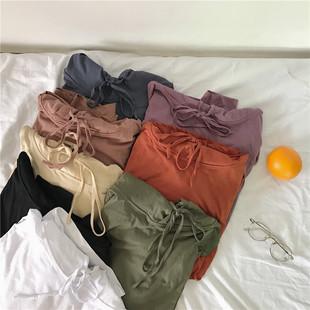 韩国秋季简约宽松连帽抽绳纯色打底衫T恤上衣学生蝙蝠袖薄款卫衣