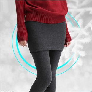 纯棉假两件打底裤女士包臀裙裤秋冬款加厚加绒带裙长裤子踩脚