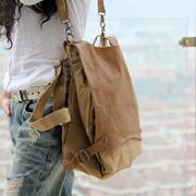 日系风双肩包女士三用背包单肩斜跨帆布旅行包文艺个性书包包