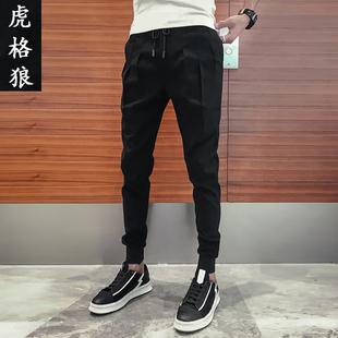 2018秋季网红小脚哈伦裤男裤子冬季潮流加绒加厚