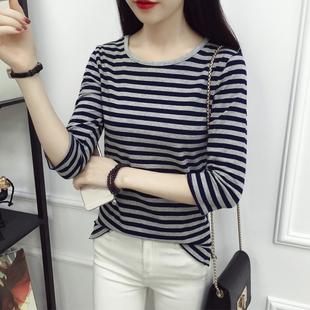 2018秋季韩板纯棉黑白条纹长袖t恤女上衣大码百搭打底衫