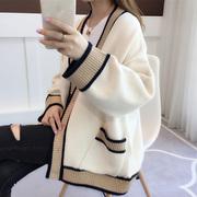 很仙的春装女2019慵懒风中长款宽松毛衣女针织衫开衫外套