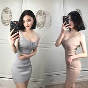 2018夜店女装夏性感中长款大牌低胸吊带裙显瘦夜场包臀连衣裙