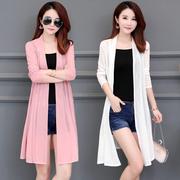 夏季中长款薄纱开衫防晒衣女士大码蕾丝衫长袖外套空调衫外搭