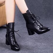 马丁靴女2018秋冬季高跟粗跟短靴女系带加绒真皮鞋瘦瘦棉靴子