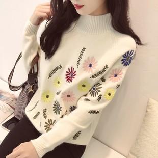 秋冬立体绣花气质毛衣女套头打底衫宽松长袖针织衫外套厚