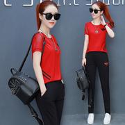 套装女夏2019时尚二件套短袖女式服装一套长裤运动女装潮