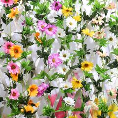 假花藤条仿真花雏菊花塑料花空调水管道装饰花藤客厅吊顶向日葵