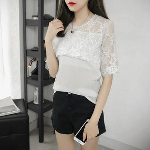 镂空蕾丝上衣女短袖t恤夏季韩国宽松大码百搭显瘦白色雪纺打底衫