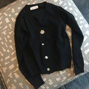 2018年秋冬 气质小香风针织开衫 水钻扣子美腻V领外套女好看