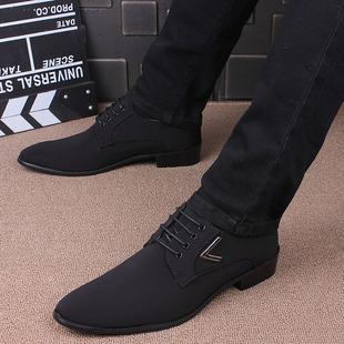 英伦尖头皮鞋男士潮流正装商务内增高男鞋春秋季黑色布面