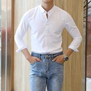 纯色舒适衬衫男士夏季长袖英伦绅士时尚百搭免烫衬衫