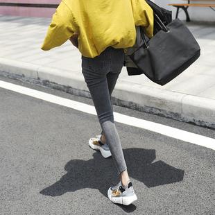 烟灰色牛仔裤女秋冬2018高腰显瘦学生加绒紧身九分小脚裤