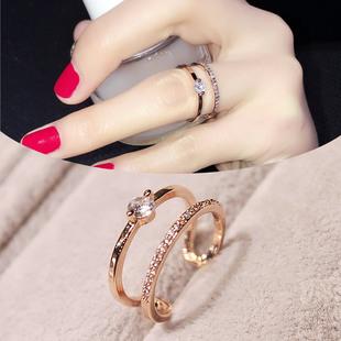 简约百搭欧美指环女戒学生饰品韩国时尚夸张女士戒指食指