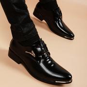 尖头皮鞋男真皮正装内增高6cm秋冬季加绒青年黑色商务皮鞋男