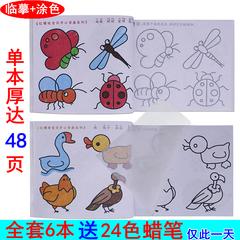 蒙纸学画画书 幼儿童涂色本3-4-5-6岁幼儿园启蒙涂鸦填色本绘画书