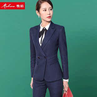 小西装女套装职业女装正装西服外套春季工装条纹长袖
