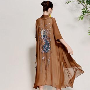 2018春夏复古原创女装中国风刺绣欧美大码宽松薄披肩外套开衫