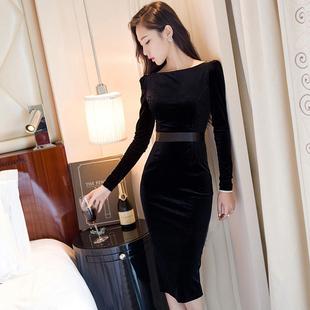 2019年春季女装丝绒连衣裙名媛气质中长款显瘦包臀打底裙