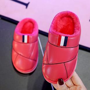 儿童棉拖鞋男女童亲子皮防水小孩包跟家居室内宝宝棉拖鞋冬1-3岁
