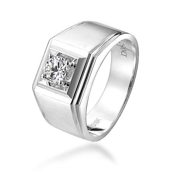 【俊朗】 白18k金52分/0.52克拉钻石男士戒指 净度SI