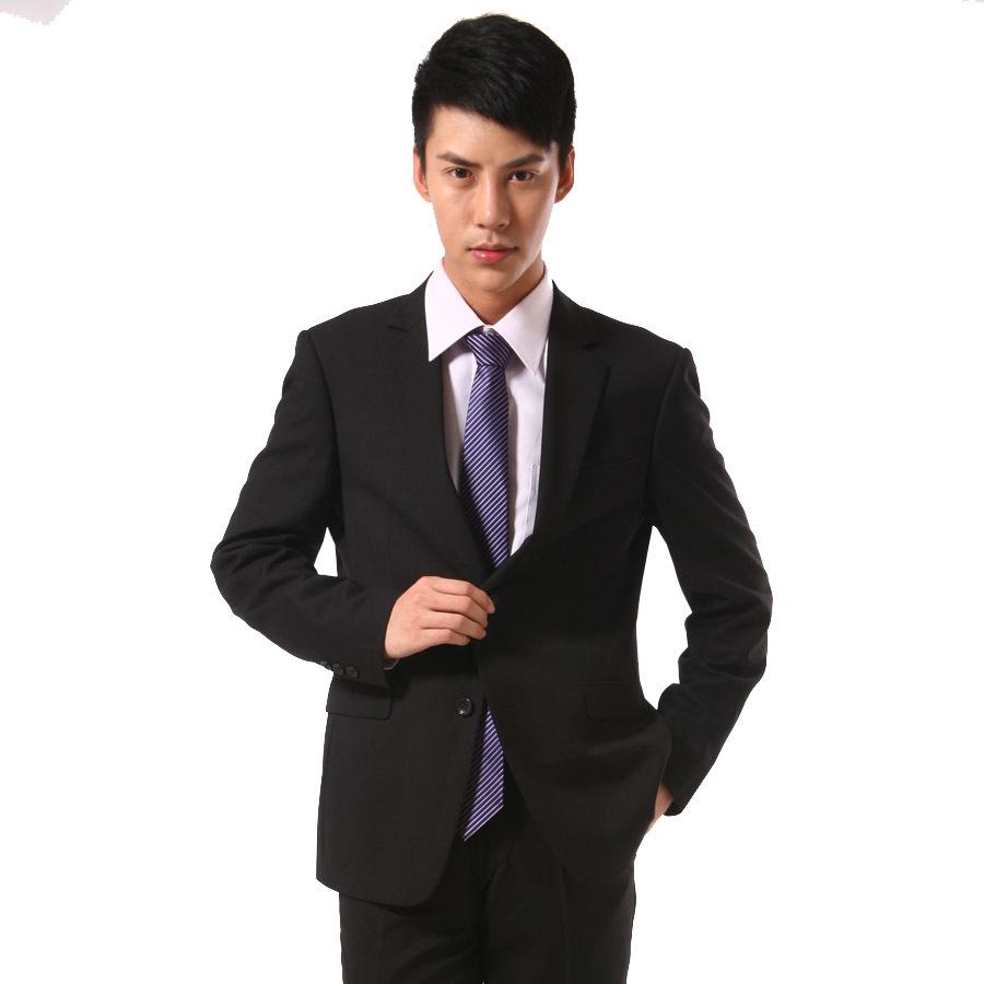 【学子正装】经典毛料男士西服 修身时尚 黑色-男士西装 男士西服 男