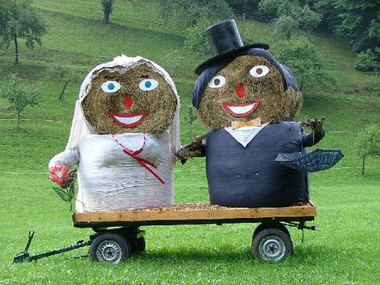 胖胖的一对稻草人夫妇。